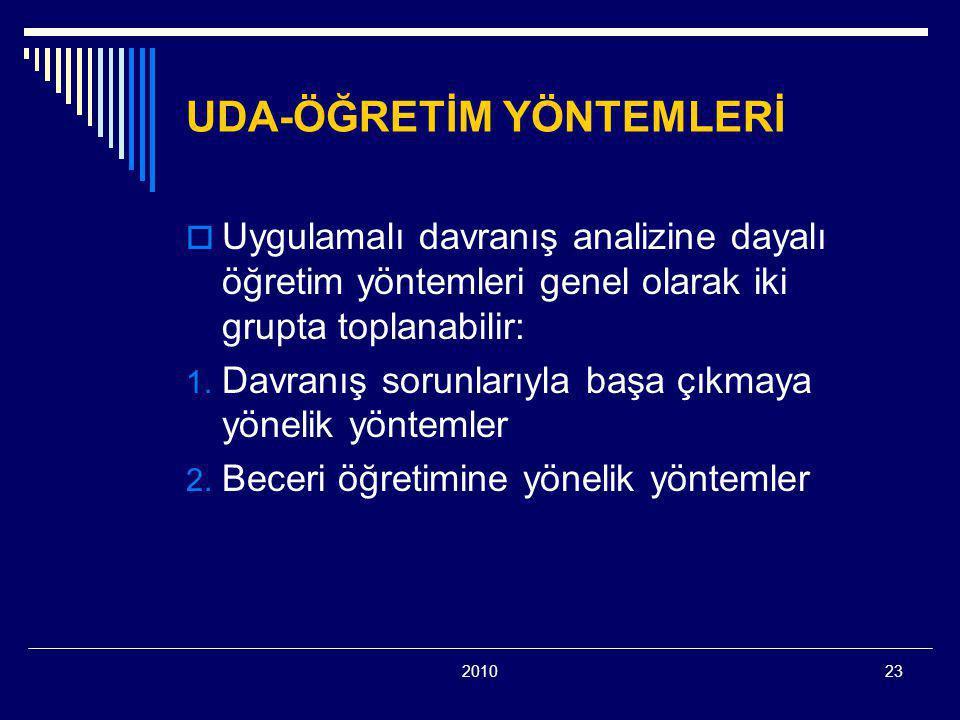 201023 UDA-ÖĞRETİM YÖNTEMLERİ  Uygulamalı davranış analizine dayalı öğretim yöntemleri genel olarak iki grupta toplanabilir: 1. Davranış sorunlarıyla