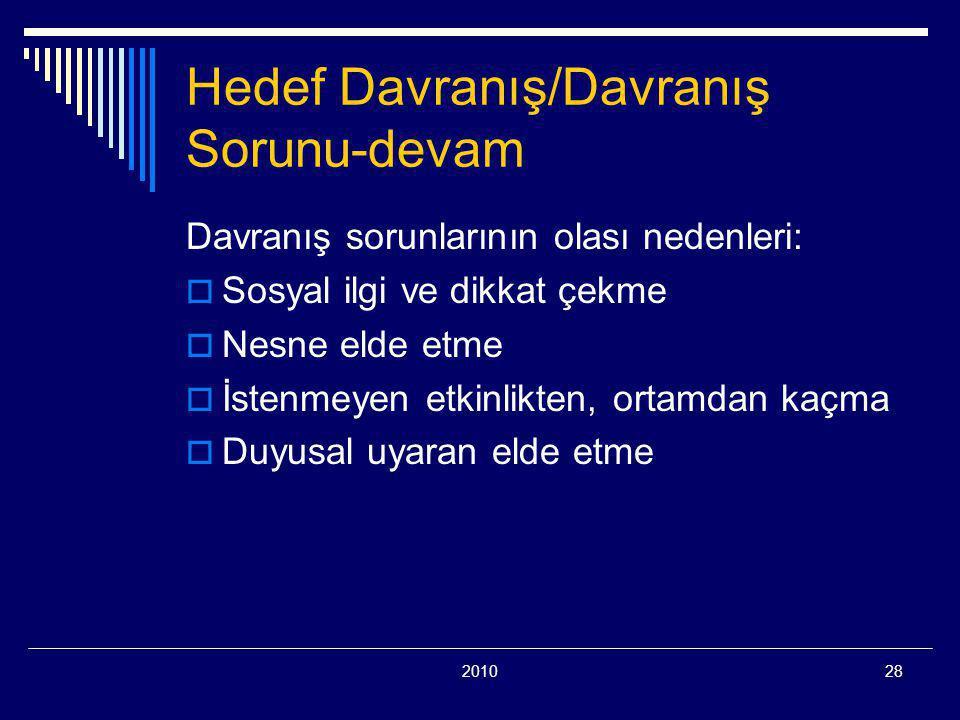 201028 Hedef Davranış/Davranış Sorunu-devam Davranış sorunlarının olası nedenleri:  Sosyal ilgi ve dikkat çekme  Nesne elde etme  İstenmeyen etkinl