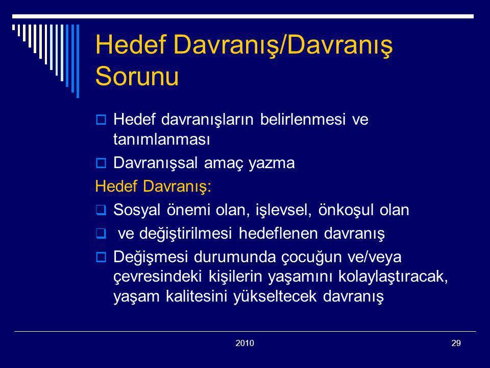 201029 Hedef Davranış/Davranış Sorunu  Hedef davranışların belirlenmesi ve tanımlanması  Davranışsal amaç yazma Hedef Davranış:  Sosyal önemi olan, işlevsel, önkoşul olan  ve değiştirilmesi hedeflenen davranış  Değişmesi durumunda çocuğun ve/veya çevresindeki kişilerin yaşamını kolaylaştıracak, yaşam kalitesini yükseltecek davranış