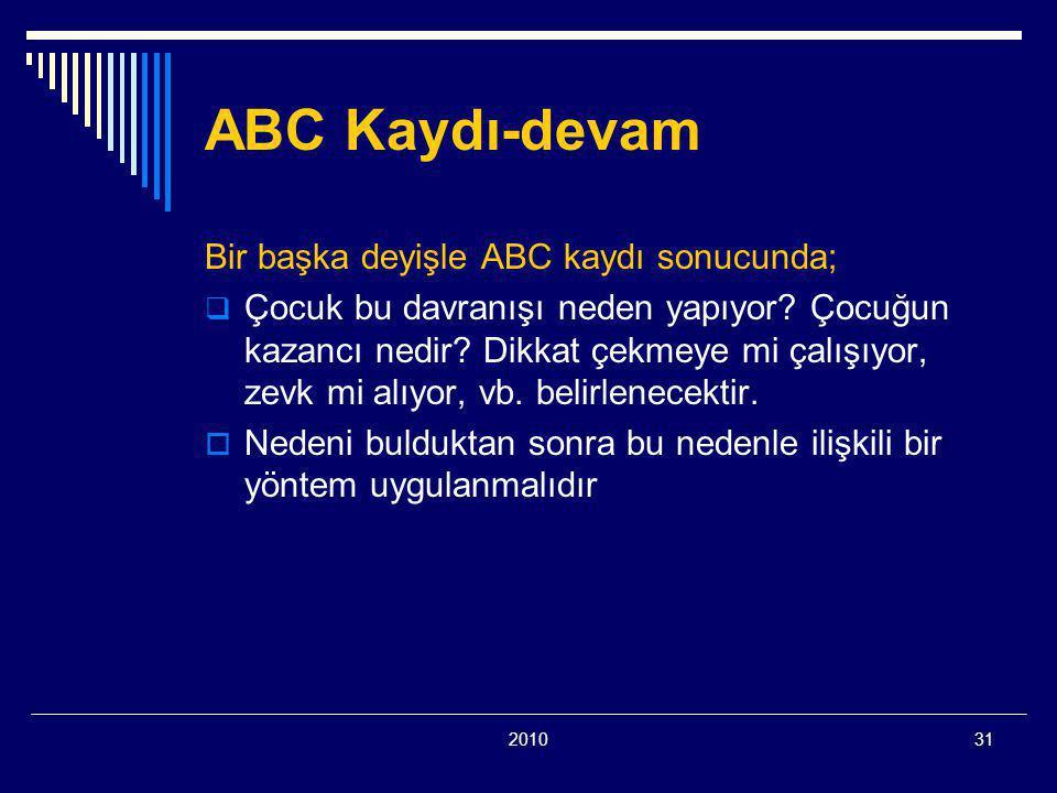 201031 ABC Kaydı-devam Bir başka deyişle ABC kaydı sonucunda;  Çocuk bu davranışı neden yapıyor.