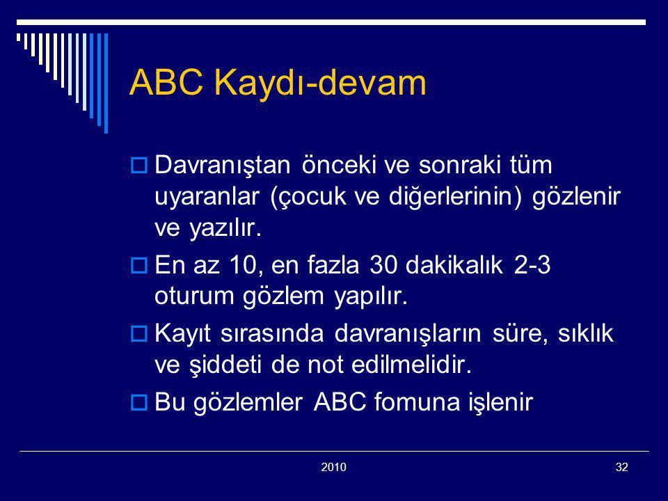 201032 ABC Kaydı-devam  Davranıştan önceki ve sonraki tüm uyaranlar (çocuk ve diğerlerinin) gözlenir ve yazılır.  En az 10, en fazla 30 dakikalık 2-