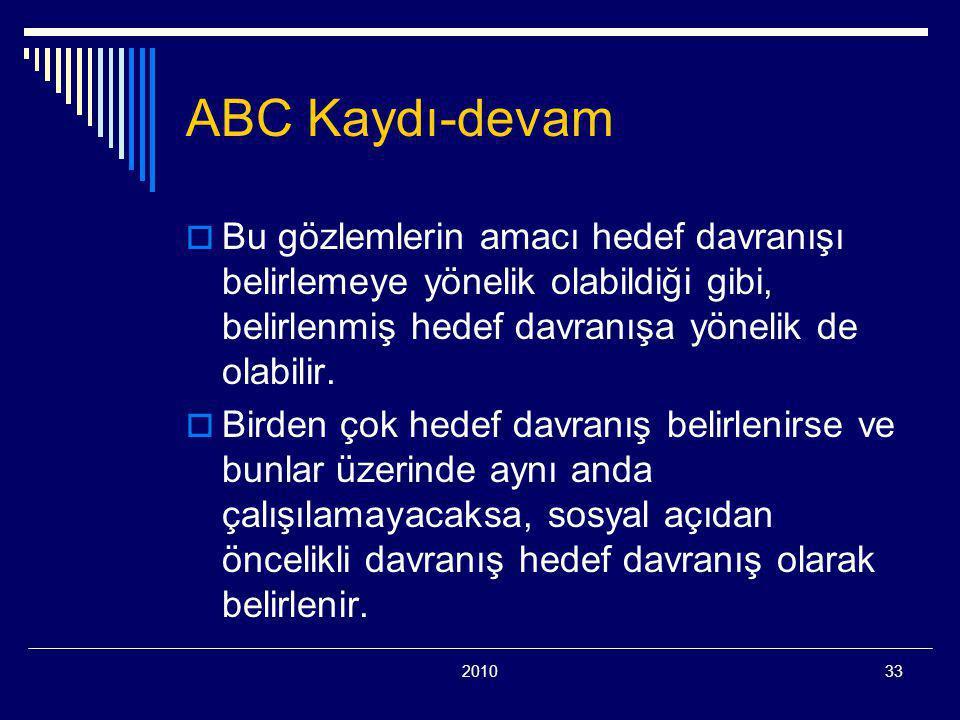 201033 ABC Kaydı-devam  Bu gözlemlerin amacı hedef davranışı belirlemeye yönelik olabildiği gibi, belirlenmiş hedef davranışa yönelik de olabilir.