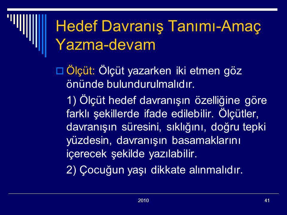 201041 Hedef Davranış Tanımı-Amaç Yazma-devam  Ölçüt: Ölçüt yazarken iki etmen göz önünde bulundurulmalıdır.