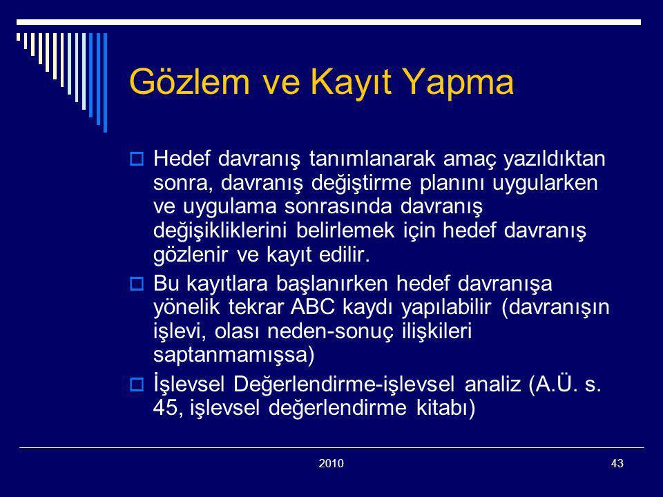 201043 Gözlem ve Kayıt Yapma  Hedef davranış tanımlanarak amaç yazıldıktan sonra, davranış değiştirme planını uygularken ve uygulama sonrasında davra