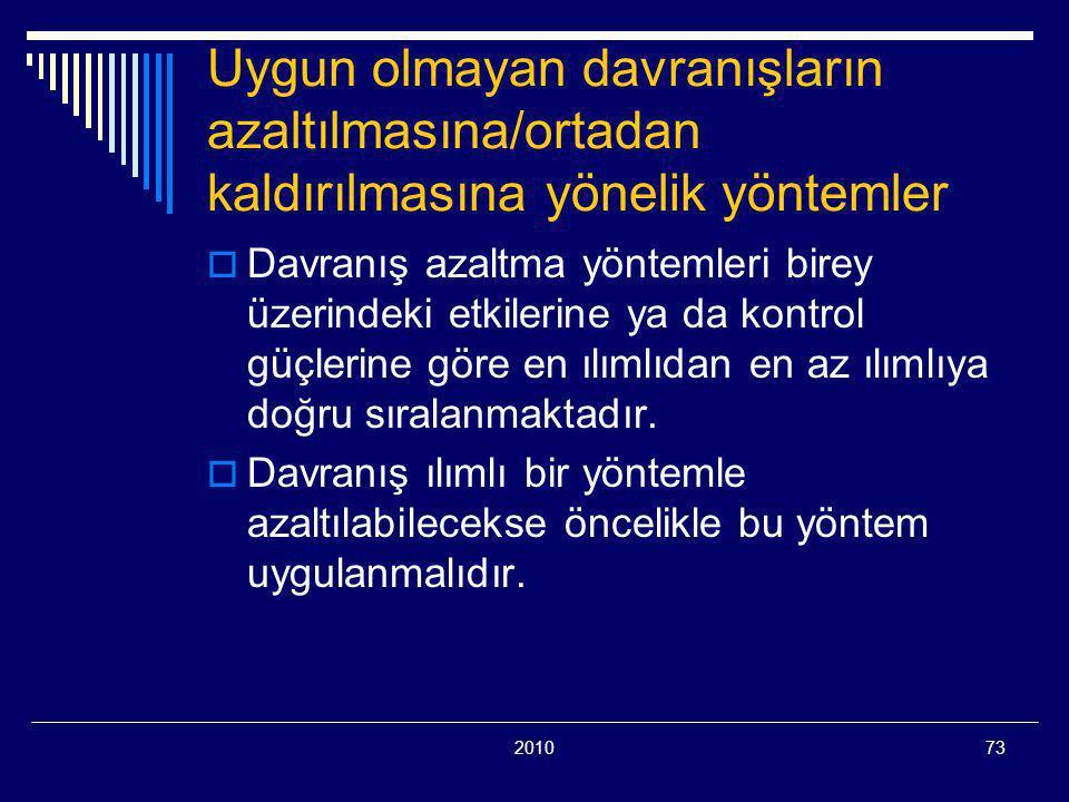 201073 Uygun olmayan davranışların azaltılmasına/ortadan kaldırılmasına yönelik yöntemler  Davranış azaltma yöntemleri birey üzerindeki etkilerine ya