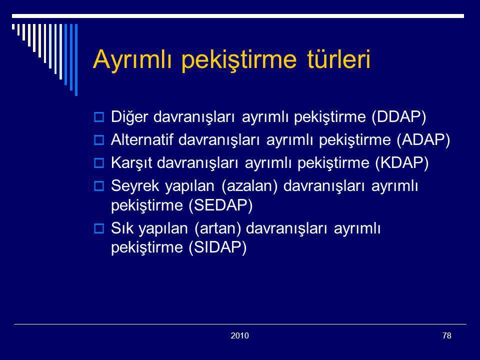 201078 Ayrımlı pekiştirme türleri  Diğer davranışları ayrımlı pekiştirme (DDAP)  Alternatif davranışları ayrımlı pekiştirme (ADAP)  Karşıt davranışları ayrımlı pekiştirme (KDAP)  Seyrek yapılan (azalan) davranışları ayrımlı pekiştirme (SEDAP)  Sık yapılan (artan) davranışları ayrımlı pekiştirme (SIDAP)