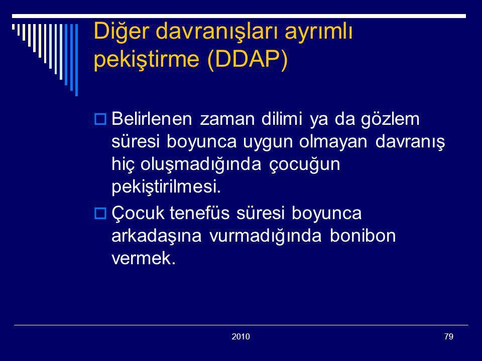 201079 Diğer davranışları ayrımlı pekiştirme (DDAP)  Belirlenen zaman dilimi ya da gözlem süresi boyunca uygun olmayan davranış hiç oluşmadığında çocuğun pekiştirilmesi.