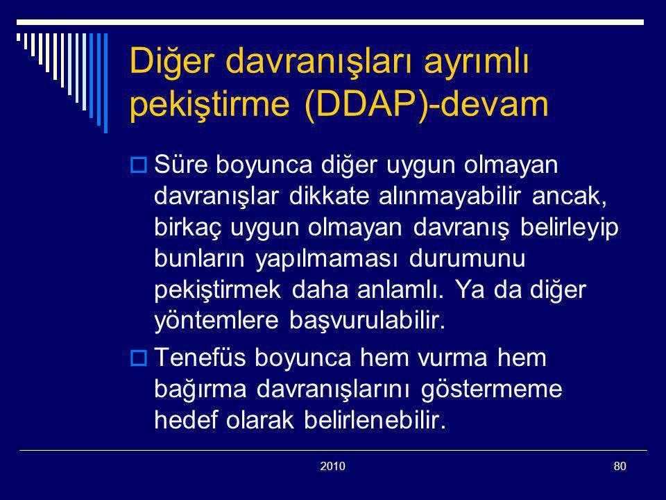201080 Diğer davranışları ayrımlı pekiştirme (DDAP)-devam  Süre boyunca diğer uygun olmayan davranışlar dikkate alınmayabilir ancak, birkaç uygun olmayan davranış belirleyip bunların yapılmaması durumunu pekiştirmek daha anlamlı.