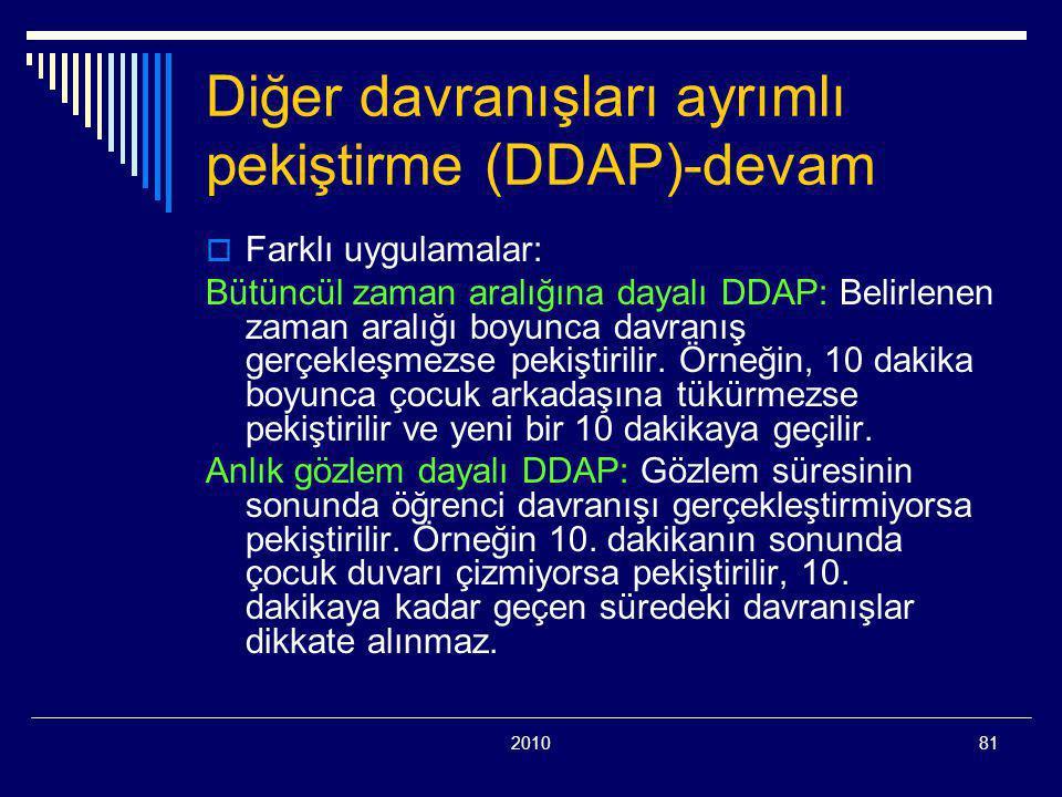 201081 Diğer davranışları ayrımlı pekiştirme (DDAP)-devam  Farklı uygulamalar: Bütüncül zaman aralığına dayalı DDAP: Belirlenen zaman aralığı boyunca davranış gerçekleşmezse pekiştirilir.