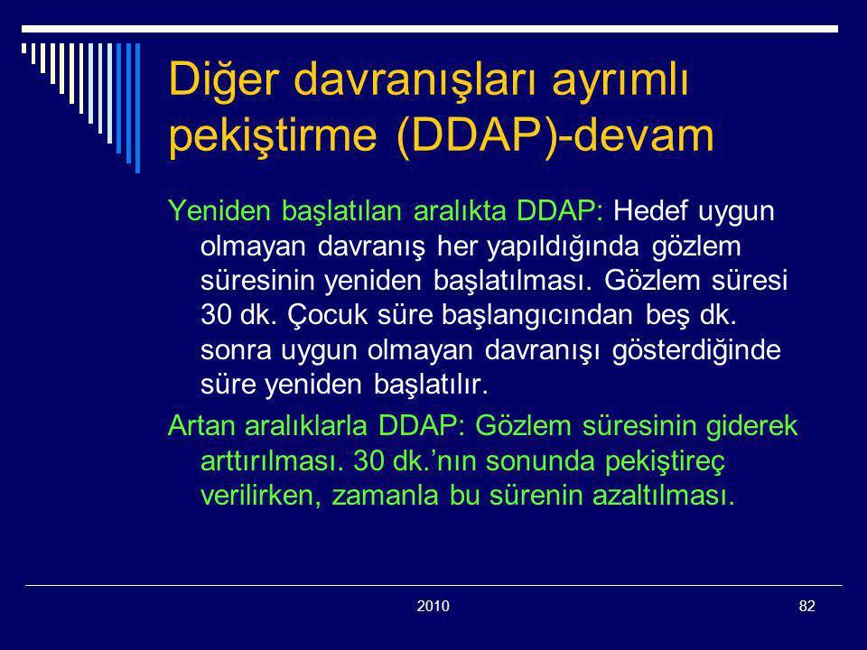 201082 Diğer davranışları ayrımlı pekiştirme (DDAP)-devam Yeniden başlatılan aralıkta DDAP: Hedef uygun olmayan davranış her yapıldığında gözlem süresinin yeniden başlatılması.