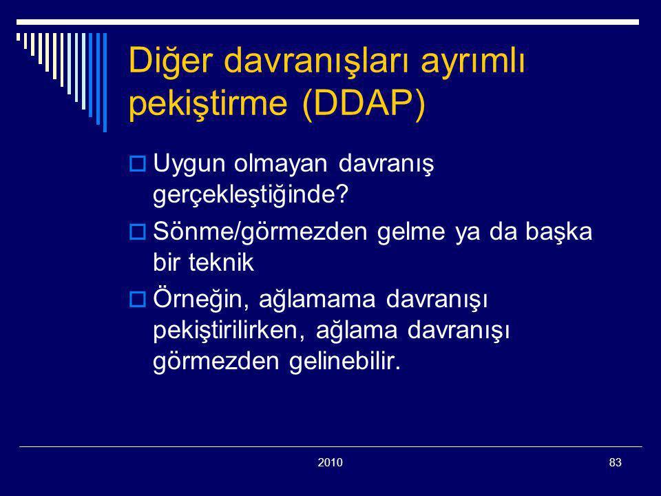 201083 Diğer davranışları ayrımlı pekiştirme (DDAP)  Uygun olmayan davranış gerçekleştiğinde?  Sönme/görmezden gelme ya da başka bir teknik  Örneği