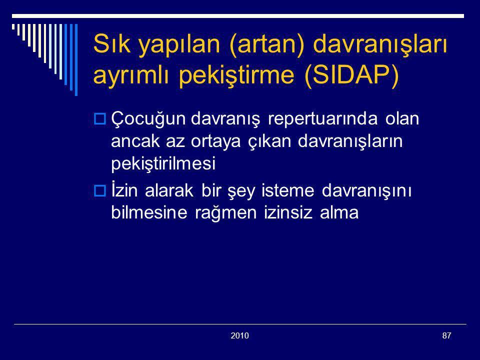 201087 Sık yapılan (artan) davranışları ayrımlı pekiştirme (SIDAP)  Çocuğun davranış repertuarında olan ancak az ortaya çıkan davranışların pekiştiri