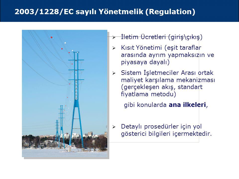 2003/54/EC sayılı Direktif  Temmuz 2004 tarihine kadar tüm mesken dışı tüketicilere piyasanın açılması,  Temmuz 2007 tarihinde piyasanın tam açılmas
