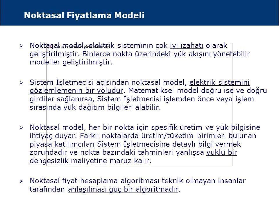 Bölgesel ve Noktasal Fiyatlama Modelleri  Noktasal Fiyatlama Modeli  Noktasal fiyatlama modelinde  elektrik sisteminin teknik limitleri,  şebekeni