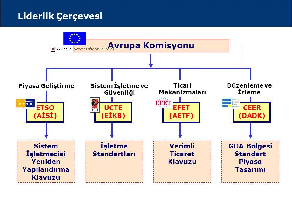 Liderlik Çerçevesi Avrupa Komisyonu Sistem İşletmecisi Yeniden Yapılandırma Klavuzu İşletme Standartları Verimli Ticaret Klavuzu GDA Bölgesi Standart Piyasa Tasarımı ETSO (AİSİ) UCTE (EİKB) EFET (AETF) CEER (DADK) Piyasa GeliştirmeSistem İşletme ve Güvenliği Ticari Mekanizmaları Düzenleme ve İzleme
