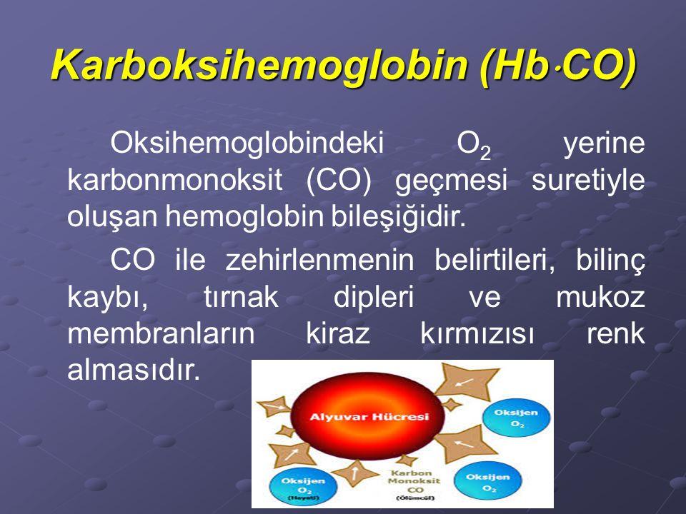 Karboksihemoglobin (Hb  CO) Oksihemoglobindeki O 2 yerine karbonmonoksit (CO) geçmesi suretiyle oluşan hemoglobin bileşiğidir.