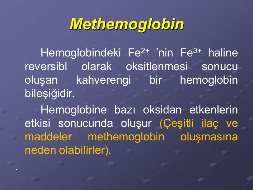 Methemoglobin Hemoglobindeki Fe 2+ 'nin Fe 3+ haline reversibl olarak oksitlenmesi sonucu oluşan kahverengi bir hemoglobin bileşiğidir.