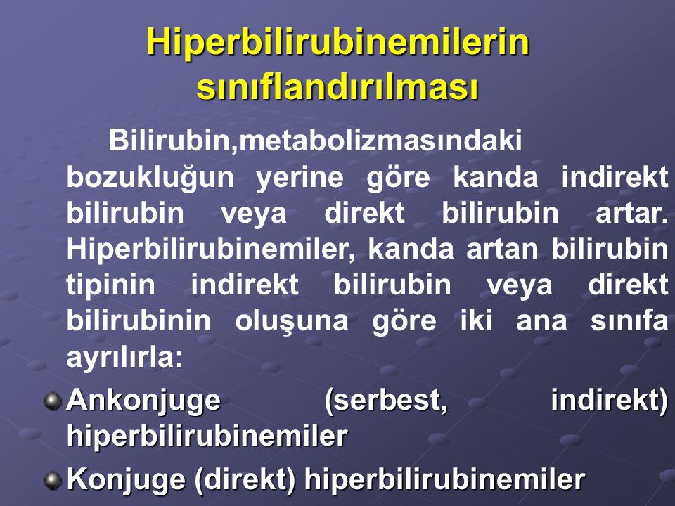 Hiperbilirubinemilerin sınıflandırılması Bilirubin,metabolizmasındaki bozukluğun yerine göre kanda indirekt bilirubin veya direkt bilirubin artar.