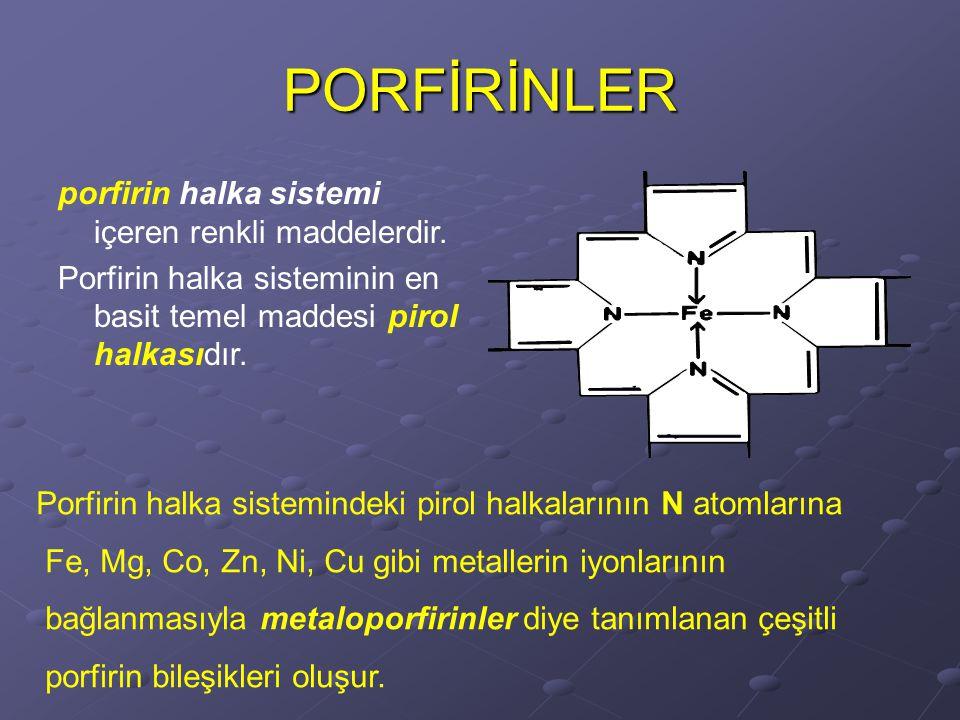 PORFİRİNLER porfirin halka sistemi içeren renkli maddelerdir.