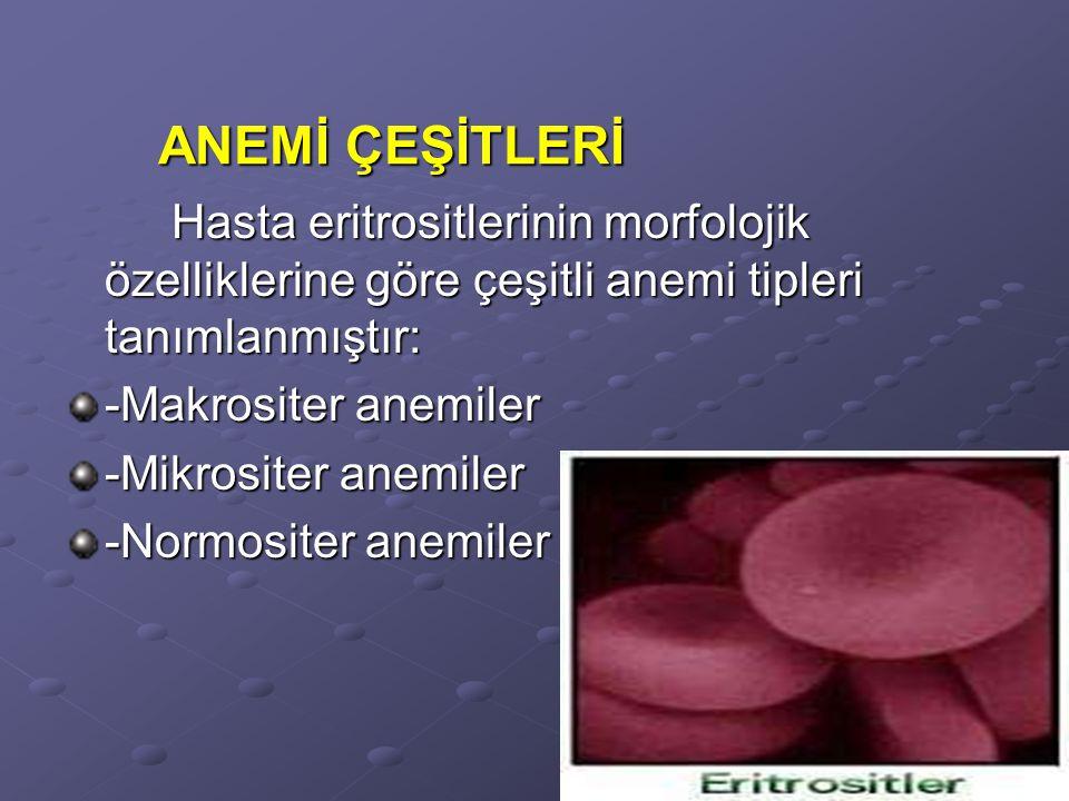 Hasta eritrositlerinin morfolojik özelliklerine göre çeşitli anemi tipleri tanımlanmıştır: -Makrositer anemiler -Mikrositer anemiler -Normositer anemiler ANEMİ ÇEŞİTLERİ