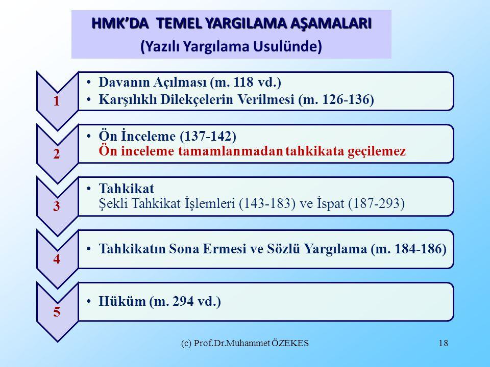 (c) Prof.Dr.Muhammet ÖZEKES18 HMK'DA TEMEL YARGILAMA AŞAMALARI (Yazılı Yargılama Usulünde) 1 Davanın Açılması (m. 118 vd.) Karşılıklı Dilekçelerin Ver