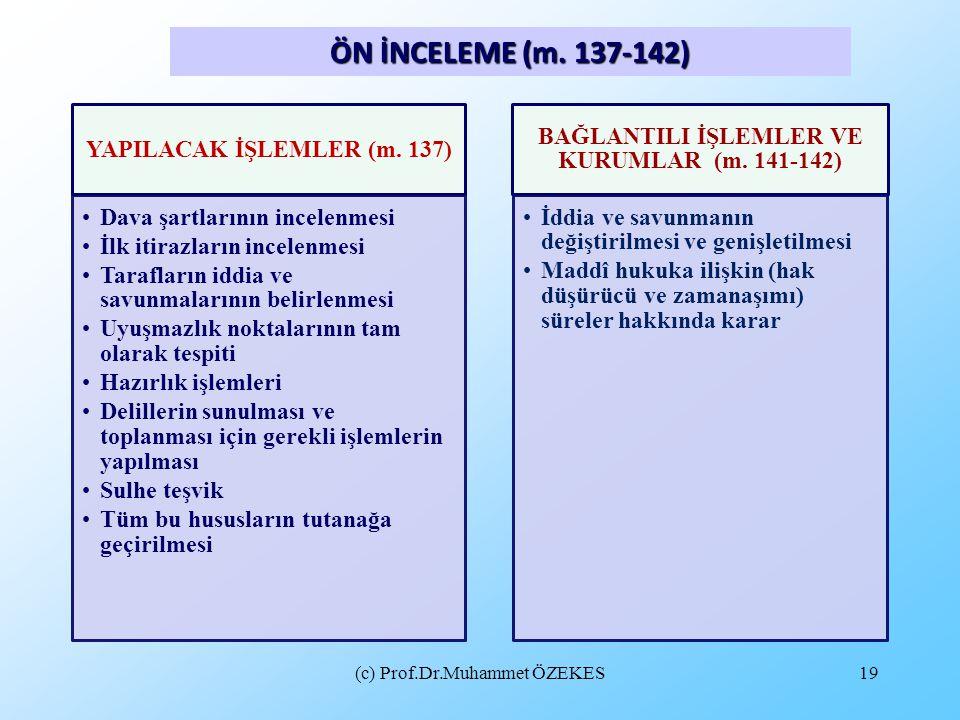 (c) Prof.Dr.Muhammet ÖZEKES19 ÖN İNCELEME (m. 137-142) YAPILACAK İŞLEMLER (m. 137) Dava şartlarının incelenmesi İlk itirazların incelenmesi Tarafların