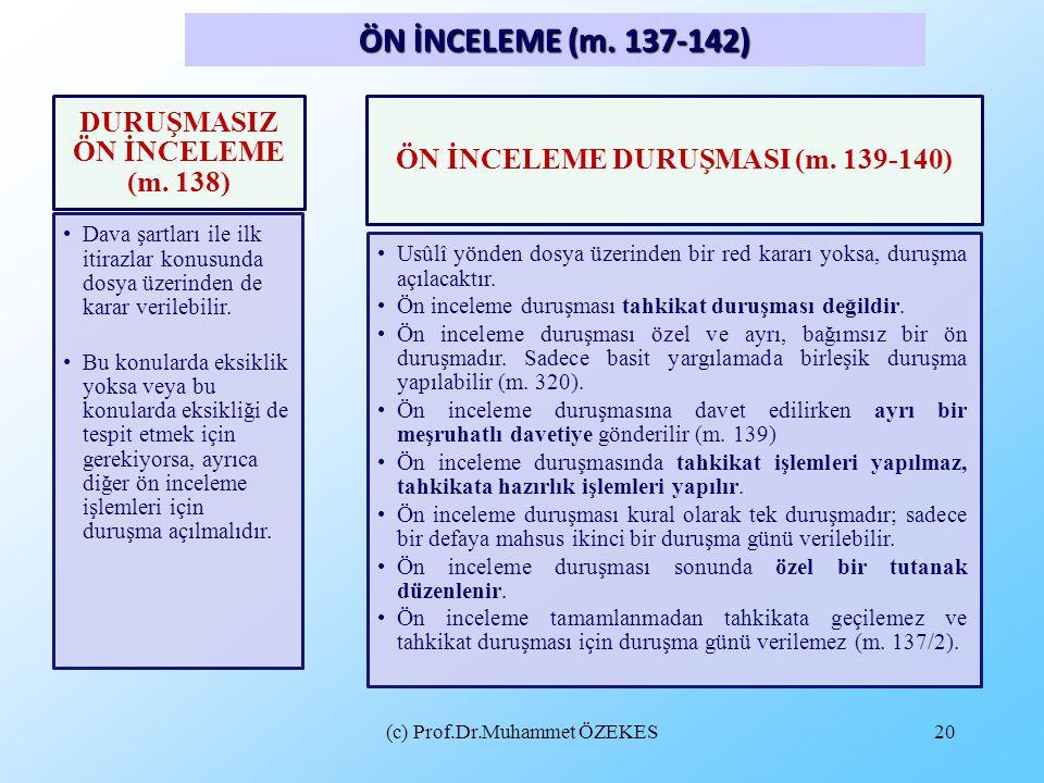 (c) Prof.Dr.Muhammet ÖZEKES20 ÖN İNCELEME (m. 137-142) DURUŞMASIZ ÖN İNCELEME (m. 138) Dava şartları ile ilk itirazlar konusunda dosya üzerinden de ka