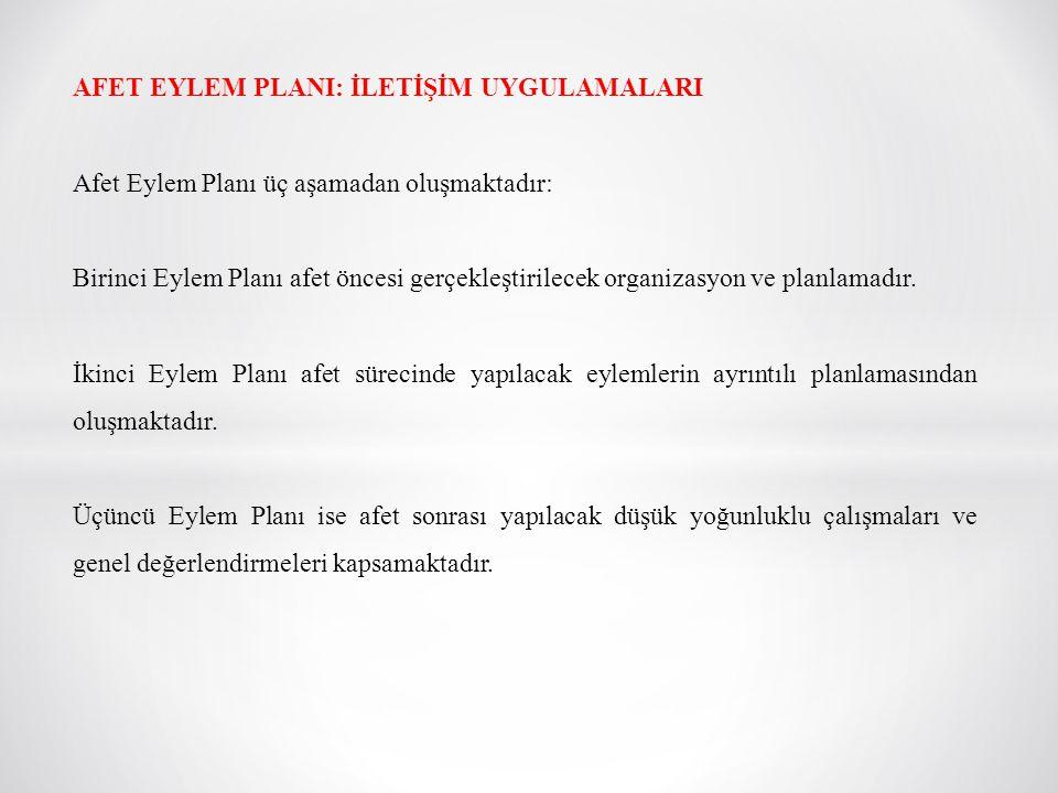 AFET EYLEM PLANI: İLETİŞİM UYGULAMALARI Afet Eylem Planı üç aşamadan oluşmaktadır: Birinci Eylem Planı afet öncesi gerçekleştirilecek organizasyon ve
