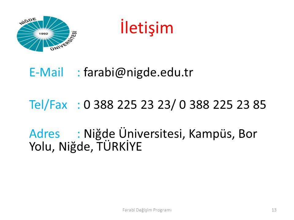 İletişim E-Mail: farabi@nigde.edu.tr Tel/Fax: 0 388 225 23 23/ 0 388 225 23 85 Adres: Niğde Üniversitesi, Kampüs, Bor Yolu, Niğde, TÜRKİYE Farabi Deği