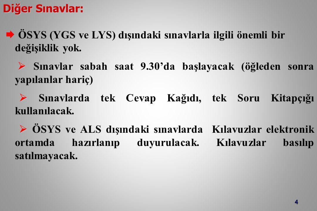 4 Diğer Sınavlar:  ÖSYS (YGS ve LYS) dışındaki sınavlarla ilgili önemli bir değişiklik yok.