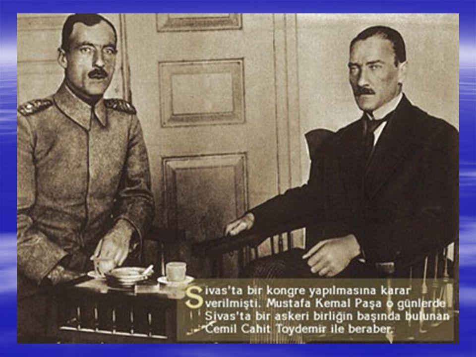 Erzurum'da ve Sivas'da yurtsever kişilerle toplantılar yaptı.