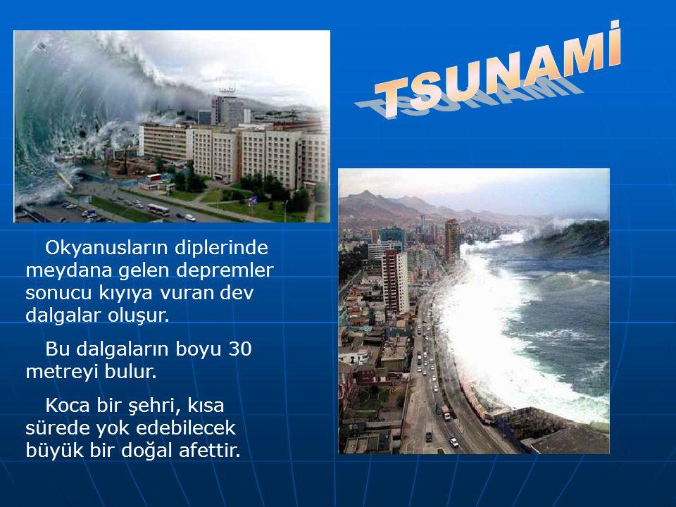 Okyanusların diplerinde meydana gelen depremler sonucu kıyıya vuran dev dalgalar oluşur. Bu dalgaların boyu 30 metreyi bulur. Koca bir şehri, kısa sür