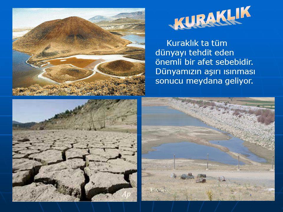 Kuraklık ta tüm dünyayı tehdit eden önemli bir afet sebebidir. Dünyamızın aşırı ısınması sonucu meydana geliyor.