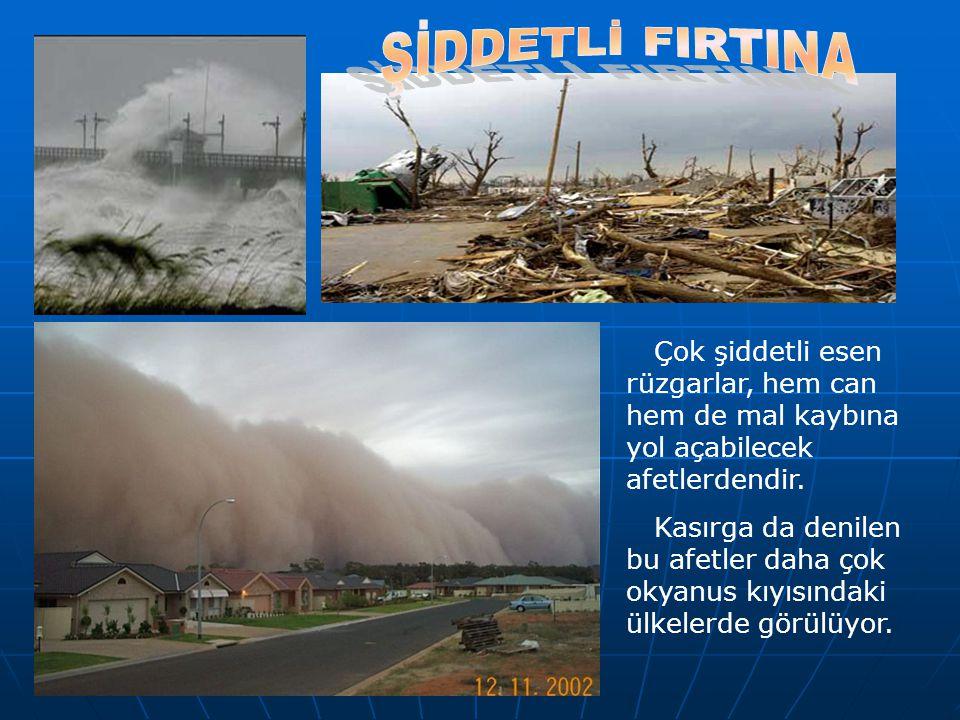 Çok şiddetli esen rüzgarlar, hem can hem de mal kaybına yol açabilecek afetlerdendir. Kasırga da denilen bu afetler daha çok okyanus kıyısındaki ülkel