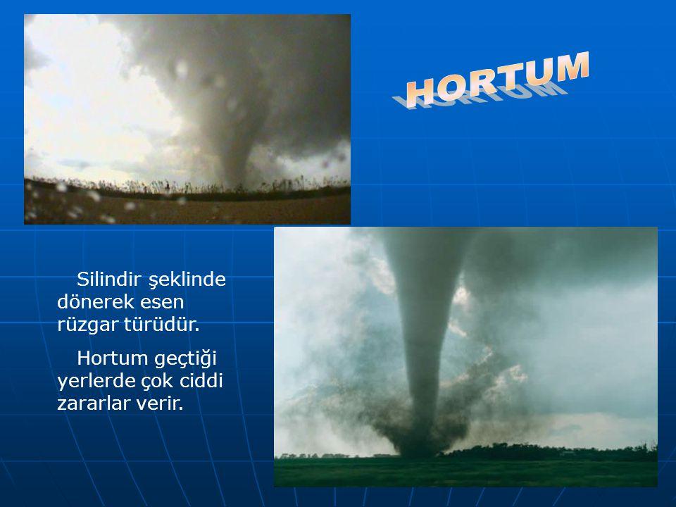 Silindir şeklinde dönerek esen rüzgar türüdür. Hortum geçtiği yerlerde çok ciddi zararlar verir.