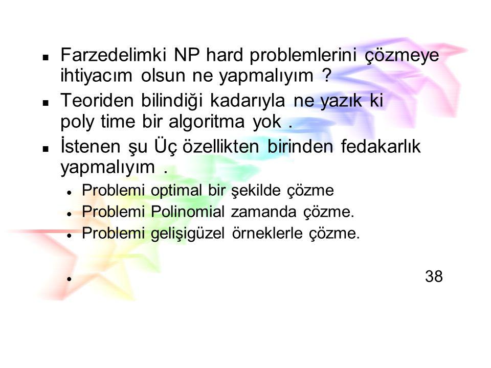 Hard Problems Bazı problemlerin çözülmesi zordur Polinom Zamanlı bilinen algoritma yok. Bir çok combinatoriyel problem zordur. Popülar olan NP-hard pr