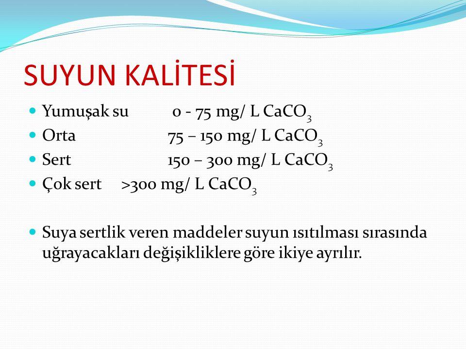 SUYUN KALİTESİ Yumuşak su 0 - 75 mg/ L CaCO 3 Orta 75 – 150 mg/ L CaCO 3 Sert 150 – 300 mg/ L CaCO 3 Çok sert >300 mg/ L CaCO 3 Suya sertlik veren maddeler suyun ısıtılması sırasında uğrayacakları değişikliklere göre ikiye ayrılır.