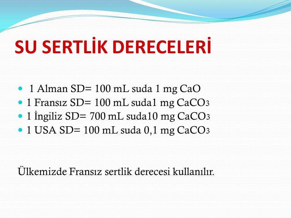 SU SERTLİK DERECELERİ 1 Alman SD= 100 mL suda 1 mg CaO 1 Fransız SD= 100 mL suda1 mg CaCO 3 1 İ ngiliz SD= 700 mL suda10 mg CaCO 3 1 USA SD= 100 mL suda 0,1 mg CaCO 3 Ülkemizde Fransız sertlik derecesi kullanılır.
