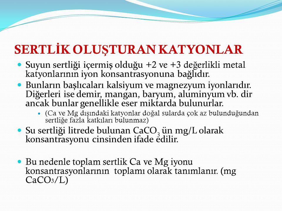 SERTL İ K OLU Ş TURAN KATYONLAR Suyun sertliği içermiş olduğu +2 ve +3 de ğ erlikli metal katyonlarının iyon konsantrasyonuna bağlıdır.