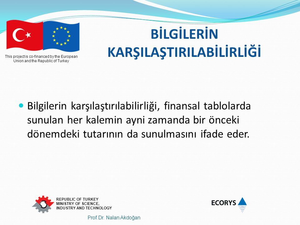 This project is co-financed by the European Union and the Republic of Turkey REPUBLIC OF TURKEY MINISTRY OF SCIENCE, INDUSTRY AND TECHNOLOGY BİLGİLERİ
