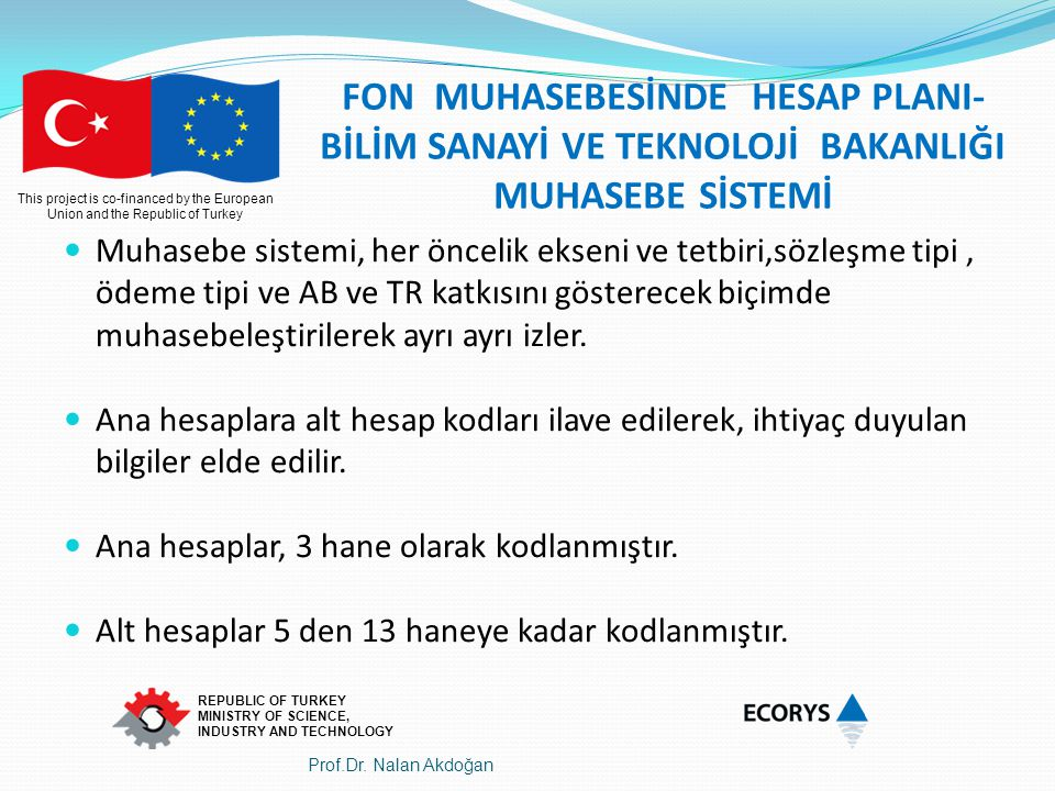 This project is co-financed by the European Union and the Republic of Turkey REPUBLIC OF TURKEY MINISTRY OF SCIENCE, INDUSTRY AND TECHNOLOGY FON MUHAS