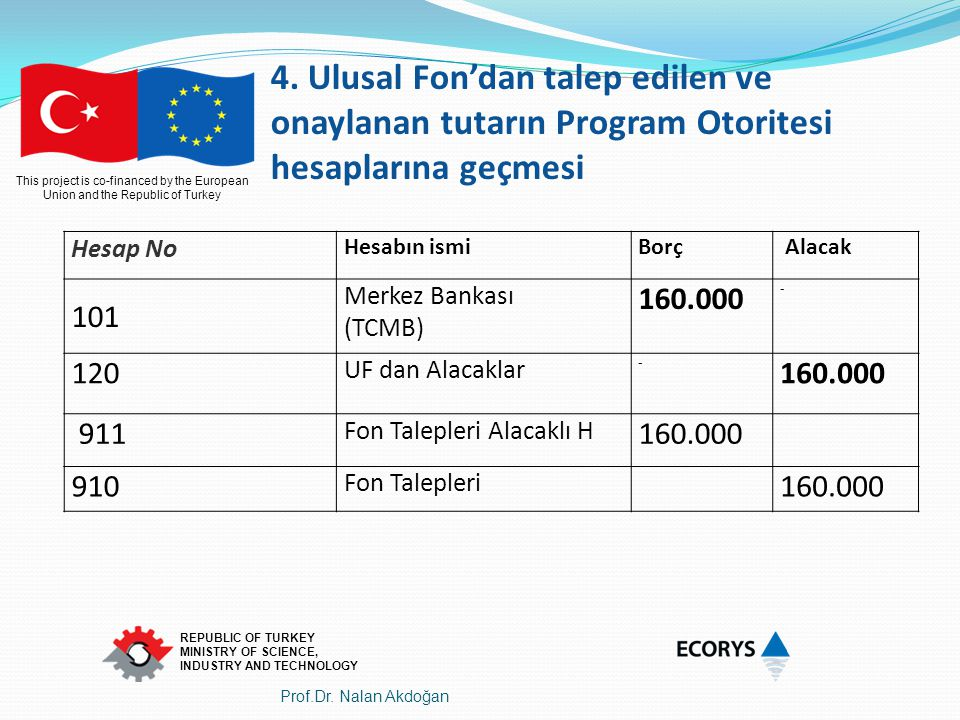 This project is co-financed by the European Union and the Republic of Turkey REPUBLIC OF TURKEY MINISTRY OF SCIENCE, INDUSTRY AND TECHNOLOGY Hesap No