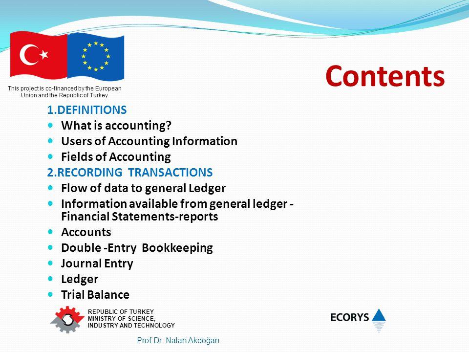This project is co-financed by the European Union and the Republic of Turkey REPUBLIC OF TURKEY MINISTRY OF SCIENCE, INDUSTRY AND TECHNOLOGY Chart of Accounts - HESAP PLANI 3.CURRENT LIABILITIES 30 FUNDS PAYABLES 300FUNDS FROM NF 301FUNDS USED (-) 302 FUNDS RETURNED (-) 303 FUNDS FROM CB-INTEREST 304 FUNDS FROM CONTRACTORS-INTEREST 305 OTHER FUNDS 34 RETENTION PAYABLES 340 RETENTION PAYABLES 36 TAX PAYABLES 360 TAX PAYABLES 39 OTHER CURRENT PAYABLES KISA VAD.YABANCI KAYNAKLAR 30ÖDENECEK FONLAR 300 UF ALINAN FONLAR 301 KULLANILAN FONLAR(-) 302 İADE EDİLEN FONLAR(-) 303 MERKEZ BANKASINDAN ALINAN FAİZLERDEN OLUŞAN FONLAR 304 YÜKLENİCİLERDEN ALINAN FAİZLERDEN OLUŞAN FONLAR 305DİĞER FONLAR 34 YÜKLENİCİLERDEN KESİLEN FONLAR 340 ÖDENECEK YÜKLENİCİDEN KESİLEN FONLAR 36ÖDENECEK VERGİLER 360 ÖDENECEK VERGİLER (Stopajlar) 39DİĞER KISA VAD YAB KAYNAKLAR 390 DİĞER KISA.VAD YAB.