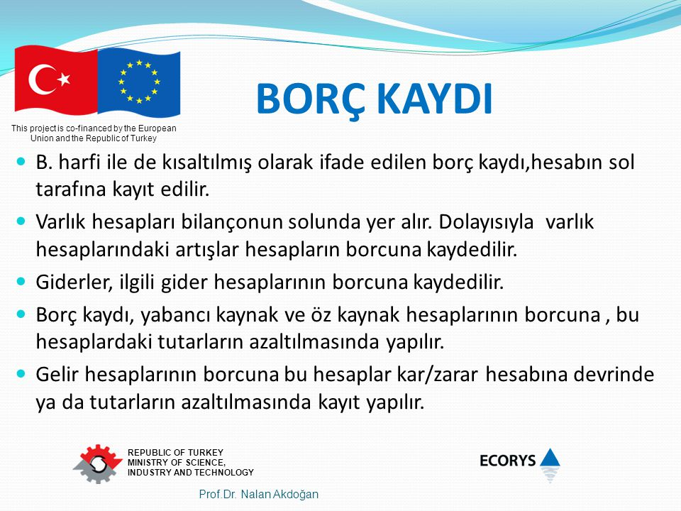 This project is co-financed by the European Union and the Republic of Turkey REPUBLIC OF TURKEY MINISTRY OF SCIENCE, INDUSTRY AND TECHNOLOGY BORÇ KAYD