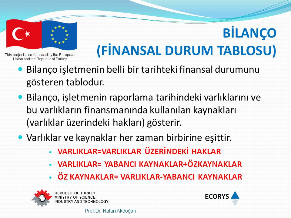 This project is co-financed by the European Union and the Republic of Turkey REPUBLIC OF TURKEY MINISTRY OF SCIENCE, INDUSTRY AND TECHNOLOGY BİLANÇO (