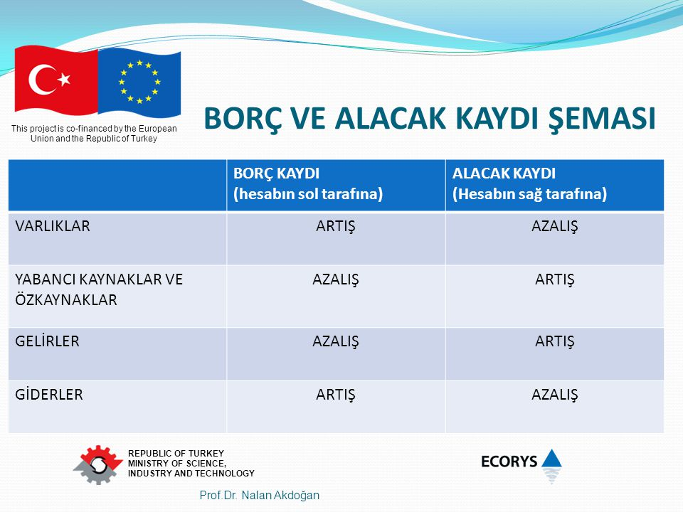 This project is co-financed by the European Union and the Republic of Turkey REPUBLIC OF TURKEY MINISTRY OF SCIENCE, INDUSTRY AND TECHNOLOGY BORÇ VE A