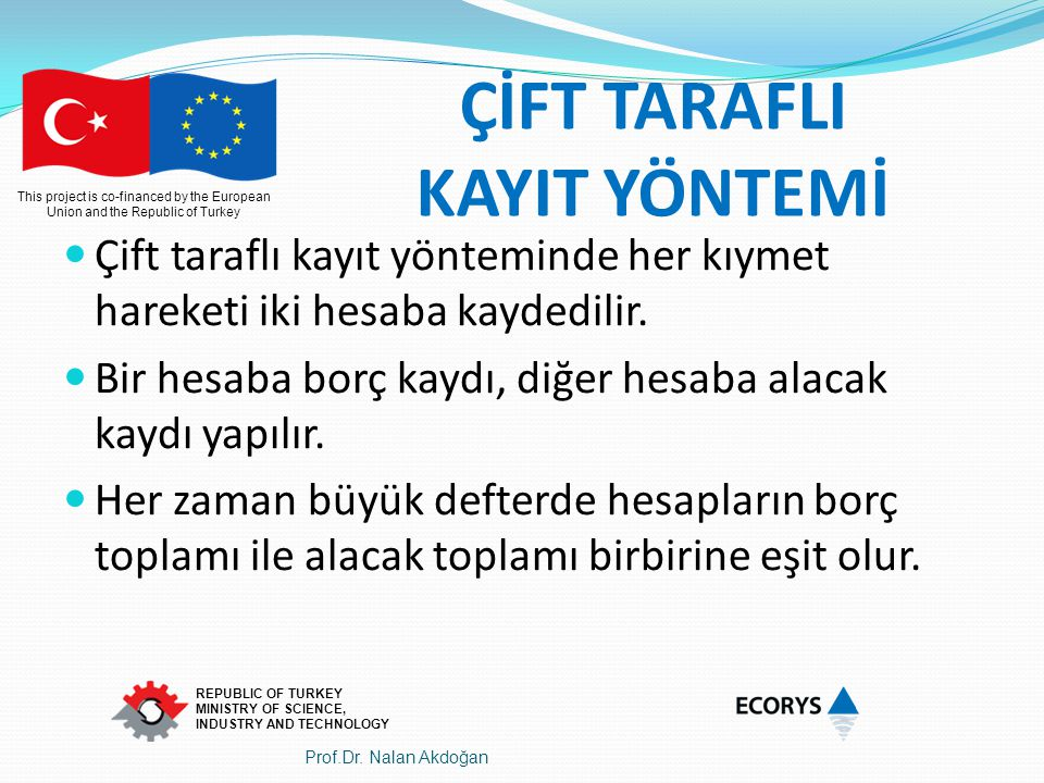 This project is co-financed by the European Union and the Republic of Turkey REPUBLIC OF TURKEY MINISTRY OF SCIENCE, INDUSTRY AND TECHNOLOGY ÇİFT TARA