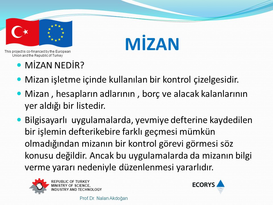 This project is co-financed by the European Union and the Republic of Turkey REPUBLIC OF TURKEY MINISTRY OF SCIENCE, INDUSTRY AND TECHNOLOGY MİZAN MİZ