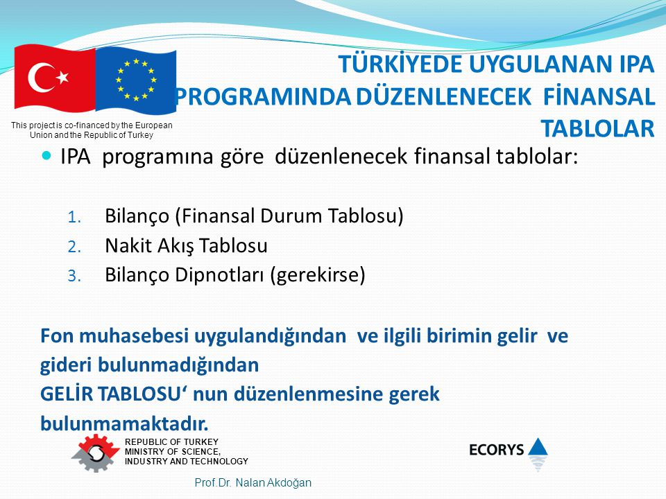 This project is co-financed by the European Union and the Republic of Turkey REPUBLIC OF TURKEY MINISTRY OF SCIENCE, INDUSTRY AND TECHNOLOGY TÜRKİYEDE