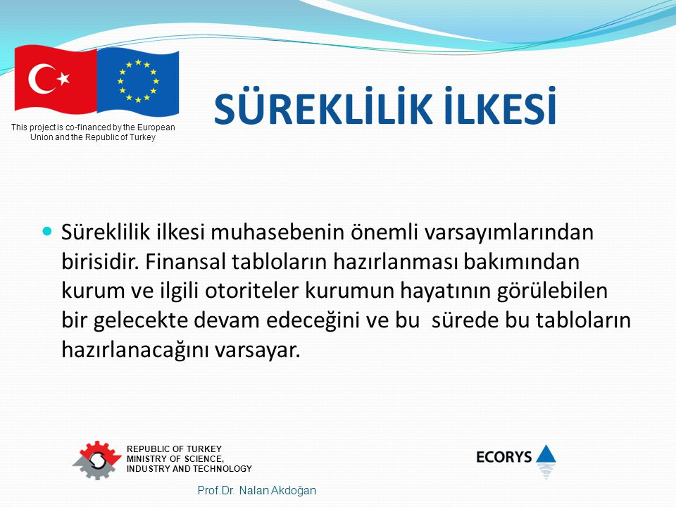 This project is co-financed by the European Union and the Republic of Turkey REPUBLIC OF TURKEY MINISTRY OF SCIENCE, INDUSTRY AND TECHNOLOGY SÜREKLİLİ
